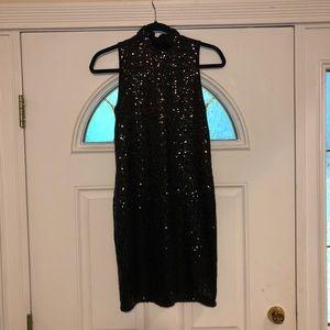 Kenzie Black Sequin Cocktail Dress